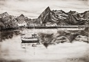 Hamnoy, charcoal on paper, 59.4cm x 42 cm